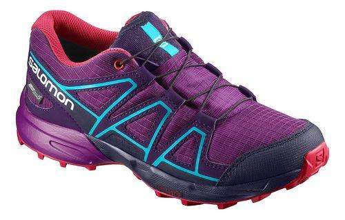 Kids Salomon Speedcross CSWP J Trail Running Shoe - Grape/Blue 6Y