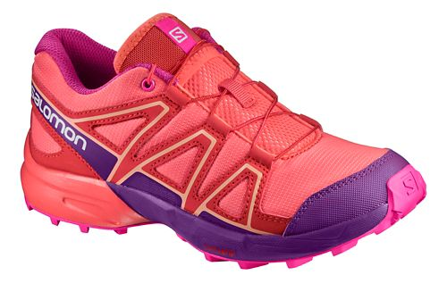 Kids Salomon Speedcross Trail Running Shoe - Coral/Acai/Rose 9C