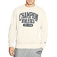 Mens Champion Heritage Fleece Crew Long Sleeve Technical Tops - White Alabaster XXL