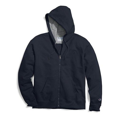 Mens Champion Powerblend Fleece Full Zip Half-Zips & Hoodies Technical Tops - Navy XL