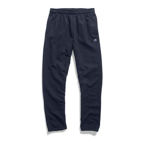 Mens Champion Powerblend Fleece Relaxed Bottom Pants - Navy L