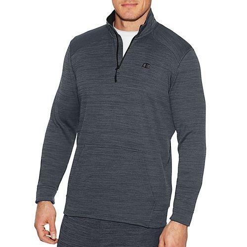 Mens Champion Premium Tech Fleece 1/4 Zip Long Sleeve Technical Tops - Stealth Heather/BK S