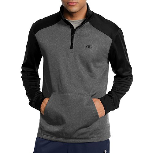 Mens Champion Tech Fleece 1/4 Zip Pullover Long Sleeve Technical Tops - Granite Heather/Black M