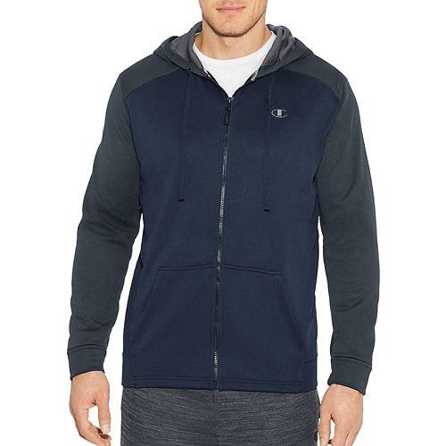 Mens Champion Tech Fleece Full Zip Hood Half-Zips & Hoodies Technical Tops - Navy/Stealth S