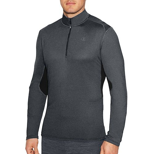 Mens Champion Training Quarter Zip Long Sleeve Technical Tops - Stealth Heather/Black XXL