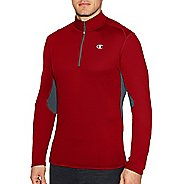 Mens Champion Training Quarter Zip Long Sleeve Technical Tops - Carmine Red/Stealth L