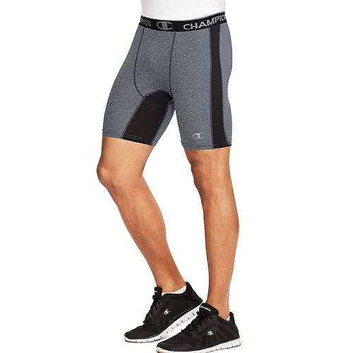 Mens Champion PowerFlex Solid Compression & Fitted Shorts - Slate Grey HT/BK M