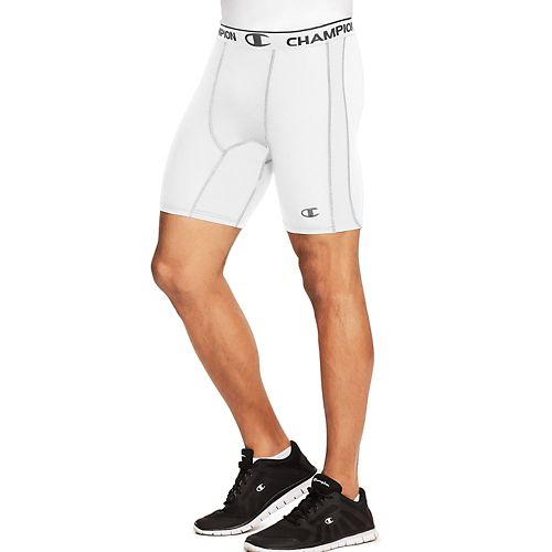 Mens Champion PowerFlex Solid Compression & Fitted Shorts - White M