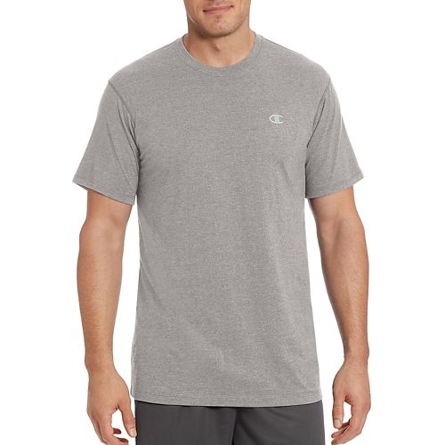 Mens Champion Vapor Cotton Basic Tee Short Sleeve Technical Tops - Oxford Grey L