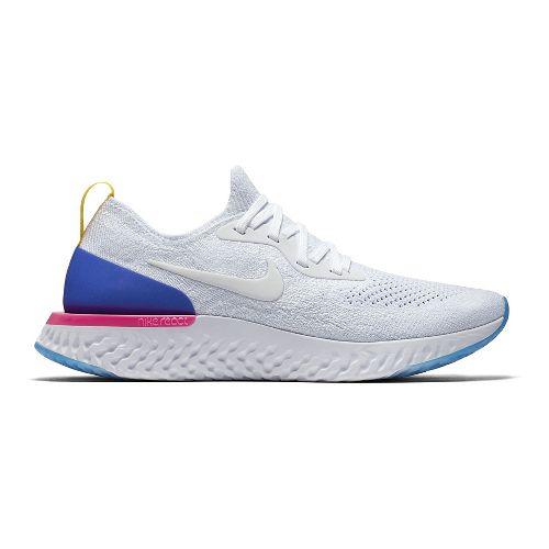 Womens Nike Epic React Flyknit Running Shoe - White/Blue 7.5