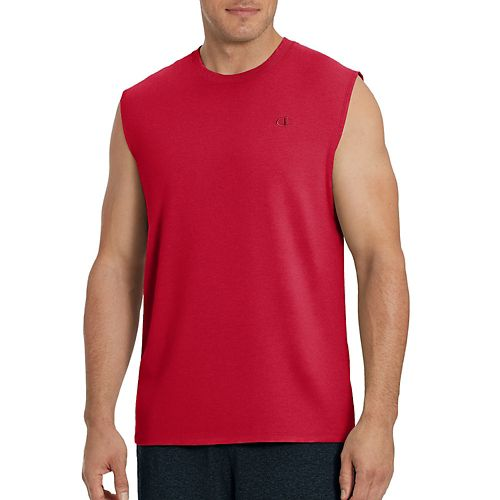 Mens Champion Classic Jersey Muscle Sleeveless & Tank Technical Tops - Scarlet S