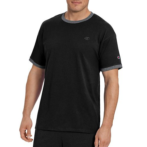 Mens Champion Classic Jersey Ringer Tee Short Sleeve Technical Tops - Black XXL