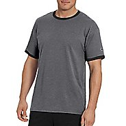Mens Champion Classic Jersey Ringer Tee Short Sleeve Technical Tops - Granite Heather/BK M
