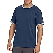 Mens Champion Classic Jersey Ringer Tee Short Sleeve Technical Tops - Navy/Oxford Grey HT XXL