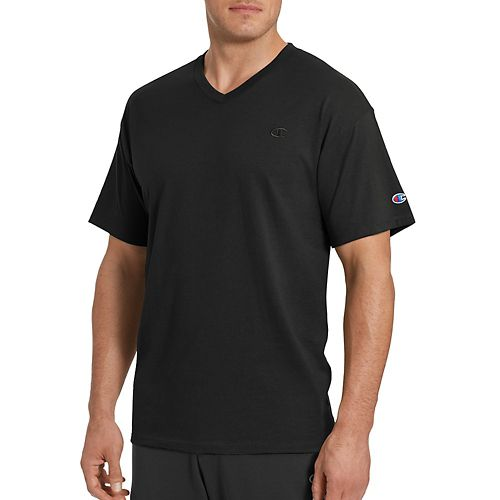 Mens Champion Classic Jersey V-Neck Short Sleeve Technical Tops - Black XXL