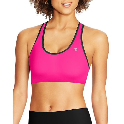 Womens Champion Absolute Racerback with SmoothTec Band Sports Bras - Pop Art Pink L
