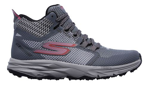 Womens Skechers GO Trail 2 - Grip Trail Running Shoe - Grey/Pink 5