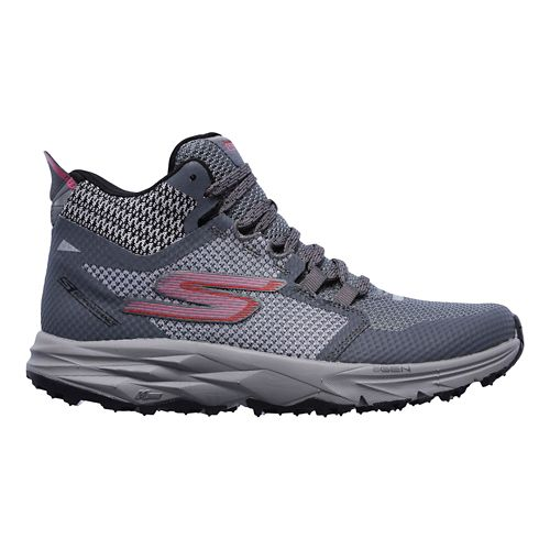 Womens Skechers GO Trail 2 - Grip Trail Running Shoe - Grey/Pink 9