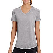Womens Champion Authentic Wash Boyfriend Tee Short Sleeve Technical Tops - Oxford Grey Heather XS