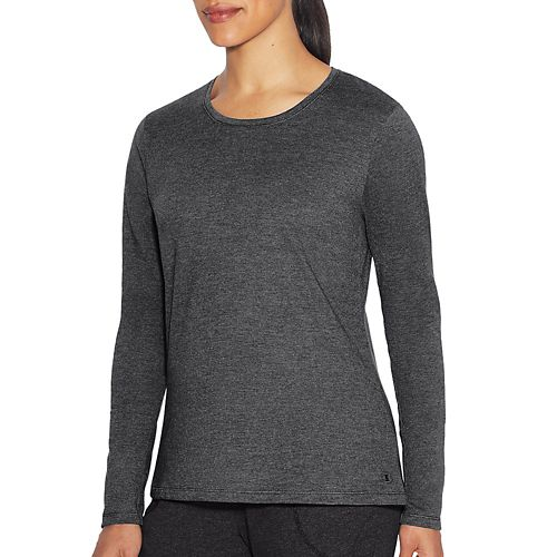 Womens Champion Vapor Tee Long Sleeve Technical Tops - Granite Heather S