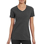 Womens Champion Vapor Cotton Tee Short Sleeve Technical Tops - Granite Heather L