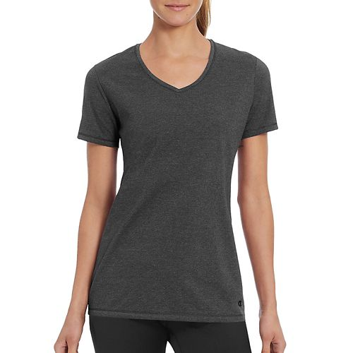 Womens Champion Vapor Cotton Tee Short Sleeve Technical Tops - Granite Heather M