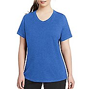 Womens Champion Vapor Plus Jersey V-Neck Tee Short Sleeve Technical Tops - Steel Blue Heather 4XL