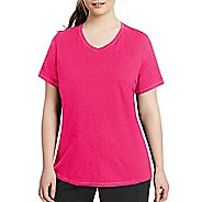Womens Champion Vapor Plus Jersey V-Neck Tee Short Sleeve Technical Tops - Pop Art Pink Heather XL