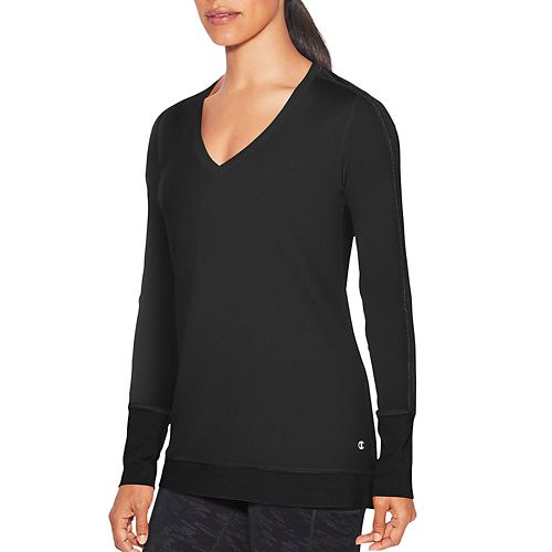 Womens Champion Absolute Mesh Tee Long Sleeve Technical Tops - Black XS