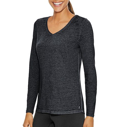 Womens Champion Authentic Wash Tee Long Sleeve Technical Tops - Black M