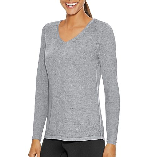 Womens Champion Authentic Wash Tee Long Sleeve Technical Tops - Black L