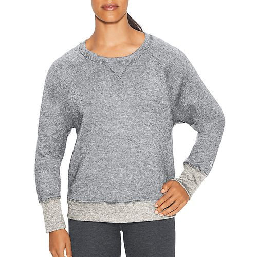 Womens Champion Fleece Boyfriend Crew Long Sleeve Technical Tops - Oxford Grey Heather XS