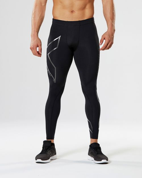Mens 2XU Heat Compression Tights - Black/Silver L