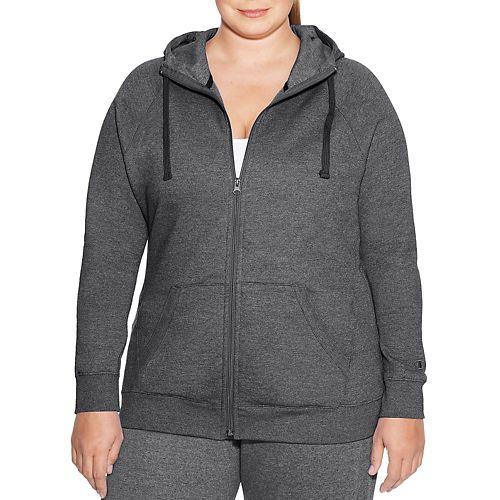 Womens Champion Plus Fleece Full Zip Half-Zips & Hoodies Technical Tops - Granite Heather XXL