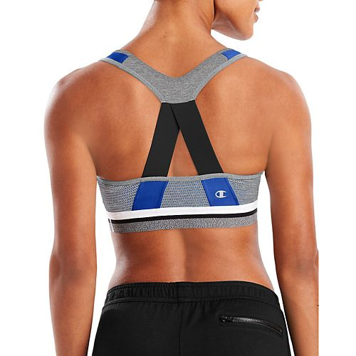Womens Champion The Absolute Sports Bras - Steel Blue/Black XL