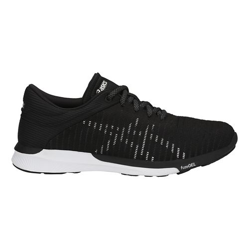 Womens ASICS fuzeX Rush Adapt Running Shoe - Black/White/Grey 10