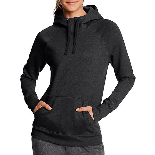 Womens Champion Fleece Pullover Half-Zips & Hoodies Technical Tops - Black L