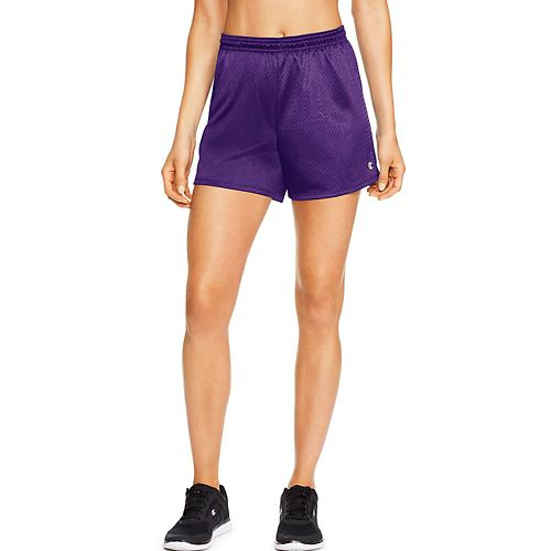 Womens Champion Mesh Lined Shorts - Grape Splash L