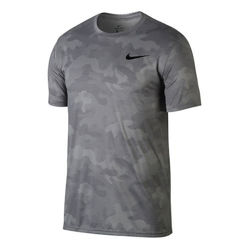 Mens Nike Dry Legend Camo Short Sleeve Technical Tops - Atmosphere Grey L