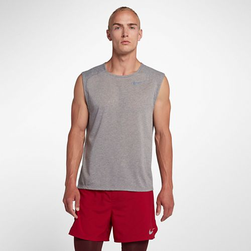 Mens Nike Breathe Rise 365 Sleeveless & Tank Technical Tops - Gunsmoke M