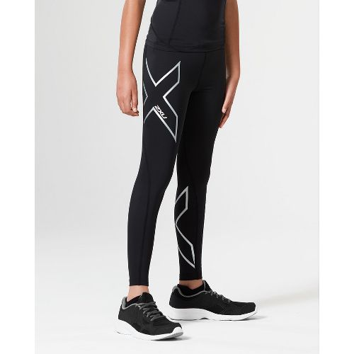 2XU Girls Compression Tights - Black/Silver YXL