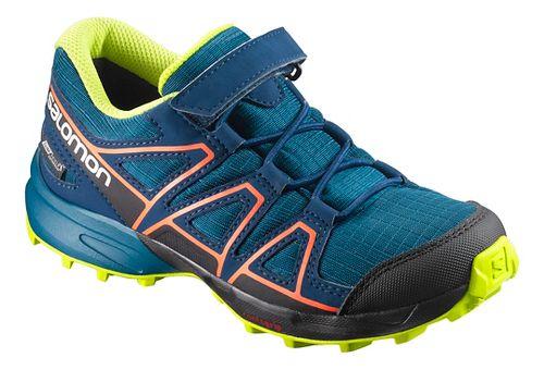 Kids Salomon Speedcross CSWP K Trail Running Shoe - Blue/Poseidon/Ibis 9C