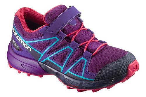Kids Salomon Speedcross CSWP Trail Running Shoe - Grape/Blue 10.5C