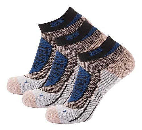 Zensah Copper Running 3 Pack Socks - Navy L