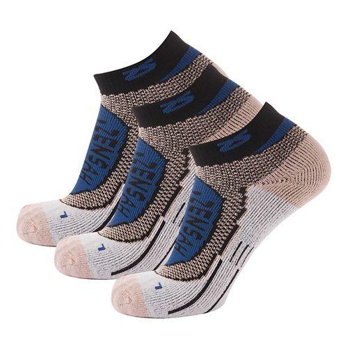 Zensah Copper Running 3 Pack Socks - Navy L