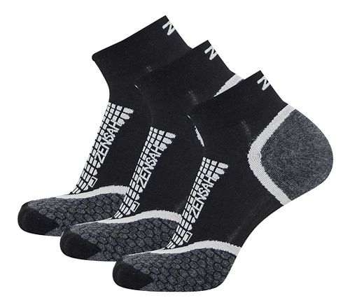 Zensah Grit Ankle Running 3 Pack Socks - Black M