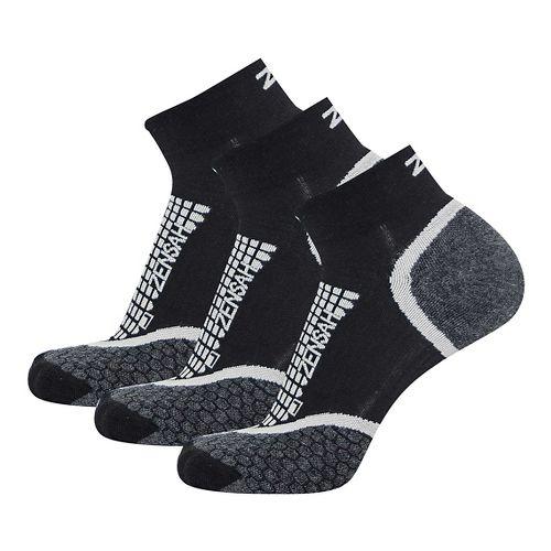 Zensah Grit Ankle Running 3 Pack Socks - Black S