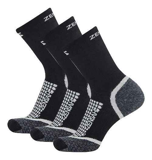 Zensah Grit Mini Crew Running 3 Pack Socks - Black M