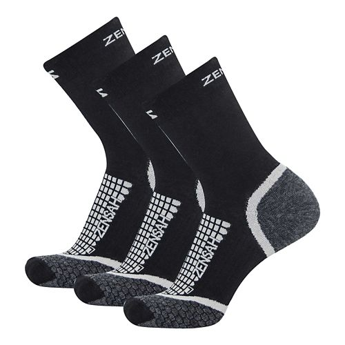 Zensah Grit Mini Crew Running 3 Pack Socks - Black S