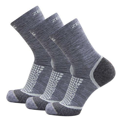 Zensah Grit Mini Crew Running 3 Pack Socks - Grey L